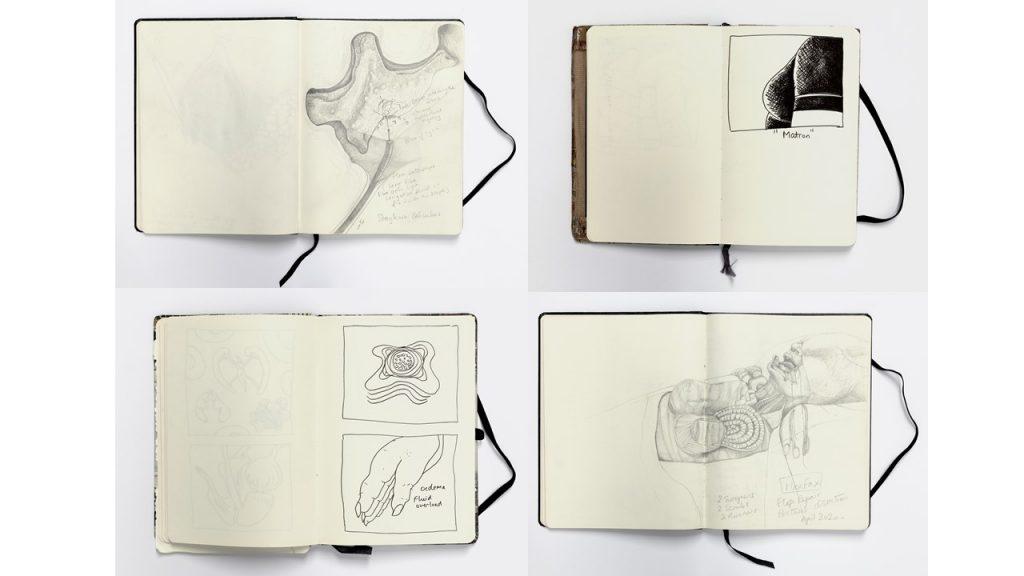 Four photographs of drawings made by Ji Sun Sjogren in her sketchbooks