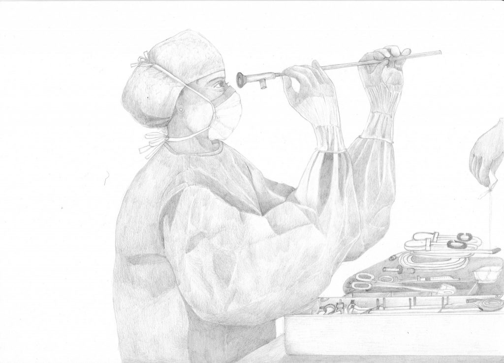 A pencil drawing of a person in surgical gowns checking a medical instrument by holding it up to their face. Drawing by Ji Sun Sjogren, made in 2020.