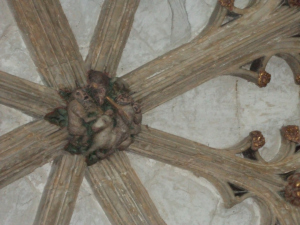 Wildmen in the cloister roof at Canterbury Cathedral