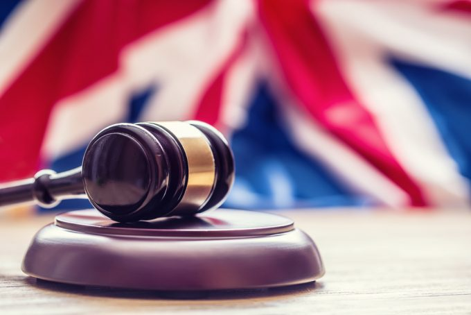 Gavel with Union flag in the background