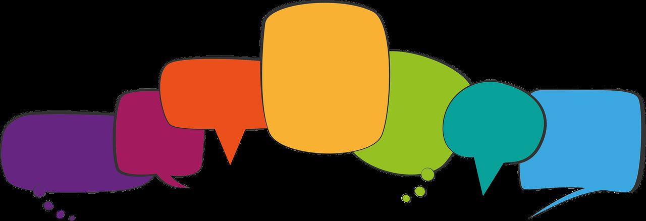 A picture of multi coloured speech bubbles
