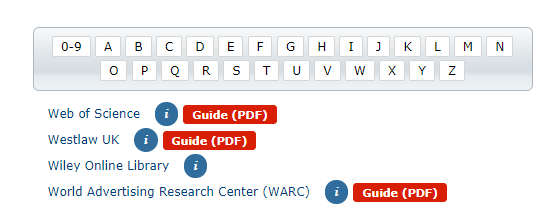 "Database guides are available by the red ""Guide (PDF)"" buttons"