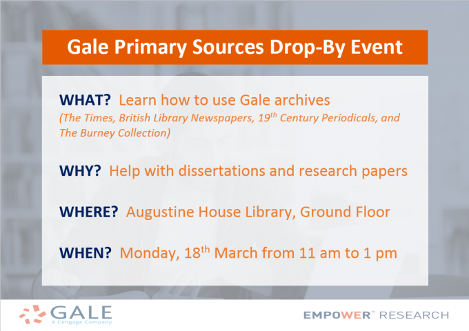 Gale Primary Sources Drop-By Event