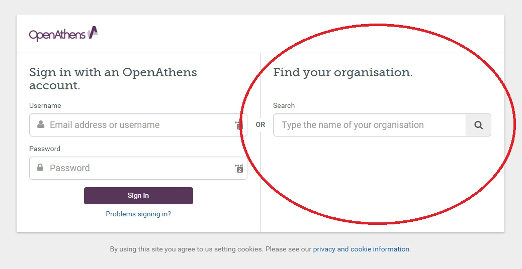 Open Athens - Find Your Organizations
