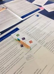 Image of posters, pens, framework skills cards for Cheryl's activity.