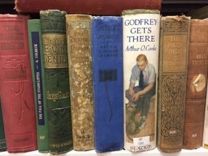 Image shows shelf of children's books from the early to mid twentieth century