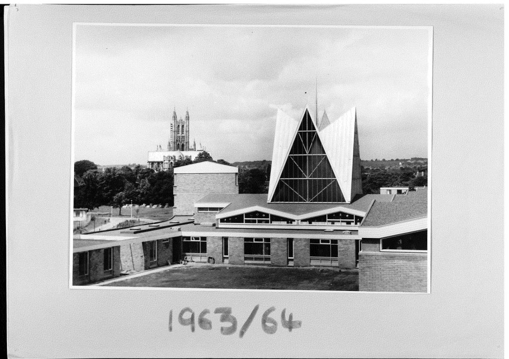 Image shows old photograph of Canterbury Christ Church University campus in 1963 or 1964