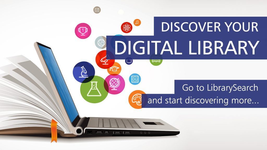 An image of a laptop to promote searching LibrarySearch