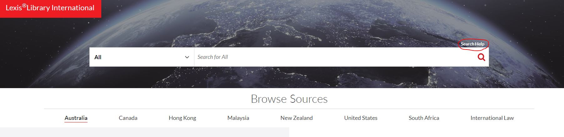 LexisLibrary International - new search bar