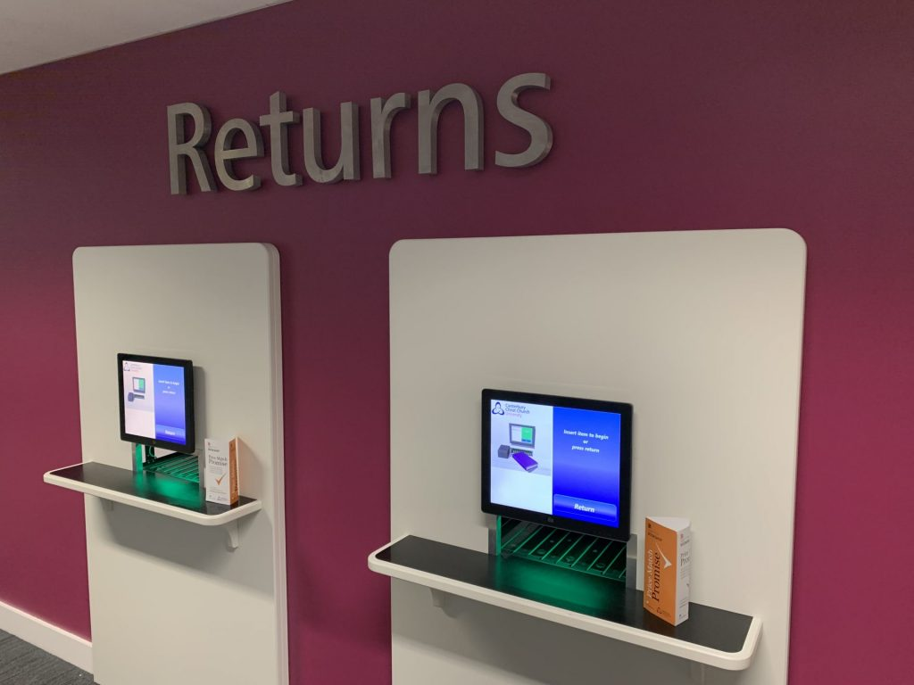 Our new self-returns machines found on the ground floor of Augustine House to the right of the library point - Much, much quicker than the old ones.