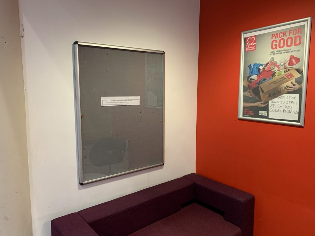 Student noticeboard - hand anything you want pinned to this to the main AH reception.