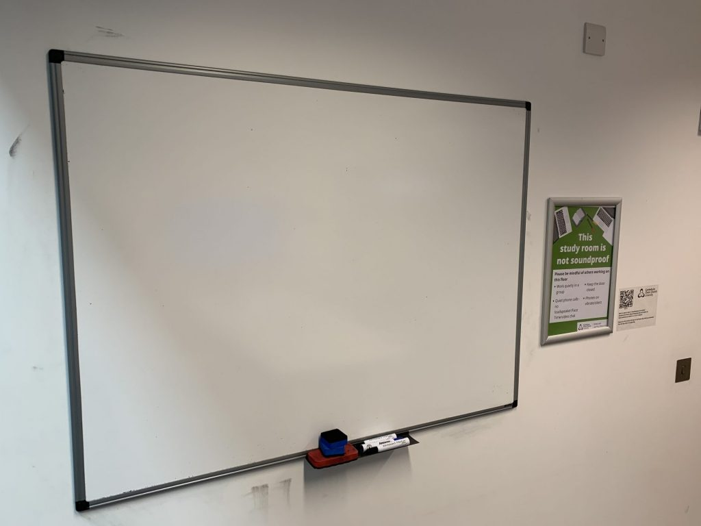 We now have whiteboards in all our group study rooms.