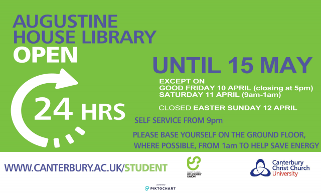 Augustine House Library open 24 hours until 15 May
