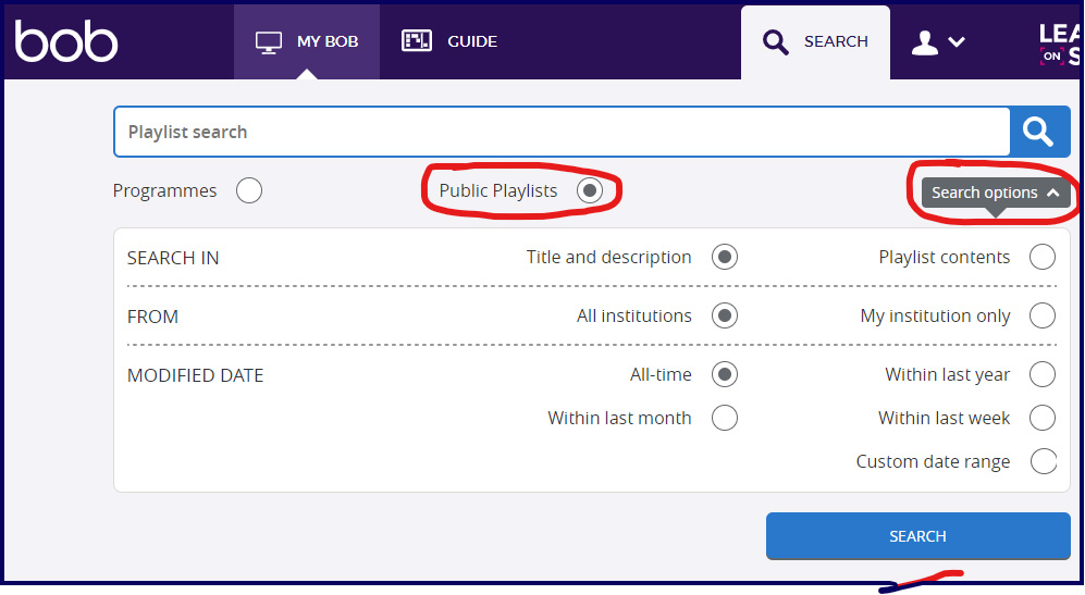 The search options can be used while searching for publicly available playlists.