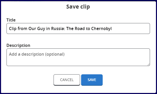 Naming and saving your clip.