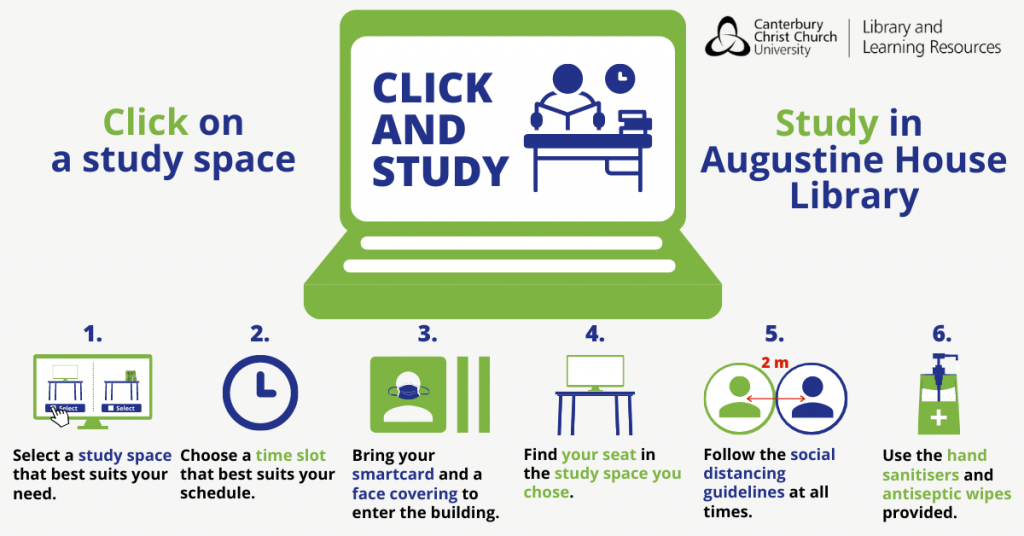 Click on a study space. Study in Augustine House Library. There are six steps. (1) Select a study space that best suits your needs, (2) Choose a timeslot the best suits your schedule, (3) Bring a Smartcard and a face covering to enter the building, (4) Find your seat in the study space you chose, (5) Follow social distancing guidelines at all times (6) Use the hand sanitisers and wipes provided