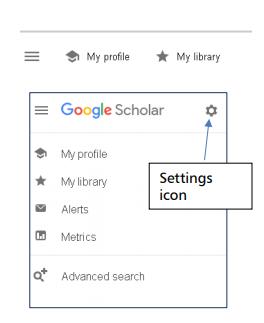 Screenshot of Google Scholar showing cog settings icon