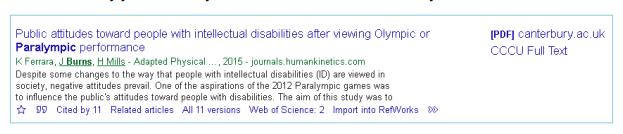 Screenshot of search result on Google Scholar