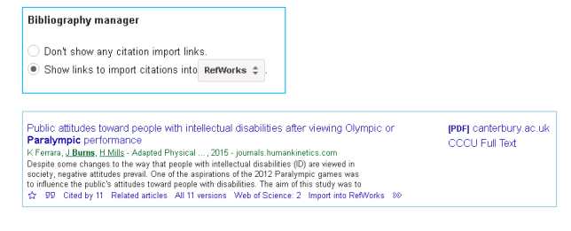 Screenshots of Google Scholar export tool and search result in Google Scholar