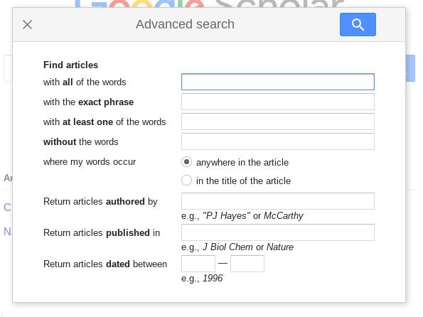 Screenshot of Google Scholar advanced search