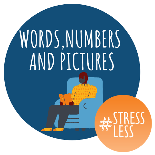 Words, numbers, pictures circular stressless logo