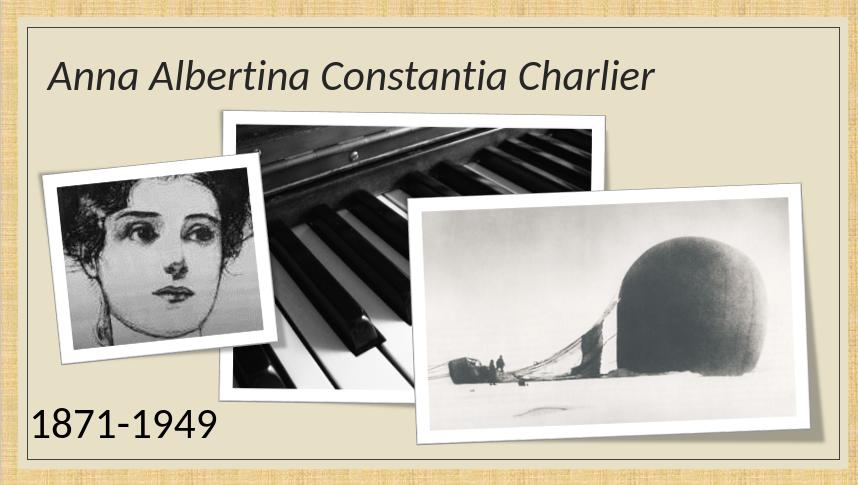 Anna Charlier's face - a woman with dark hair in a bun, a piano keyboard and a crashed hot air ballon.