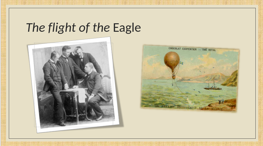 Group of men sitting around a table in discussion. A postcard of a hot air balloon in flight.