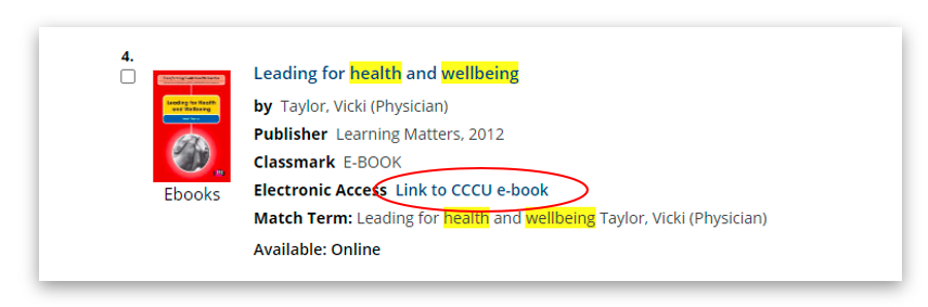"Image showing where to find the ""Link to CCCU e-book"" links in the results list on LibrarySearch."