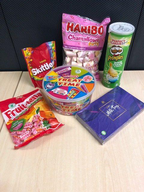 six snacks and treats available to win - pringles, skittles, marshmallows, chocolates, chews and retro sweets