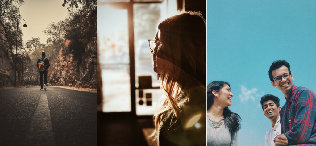 three portrait images expressing walking, thinking and laughing.