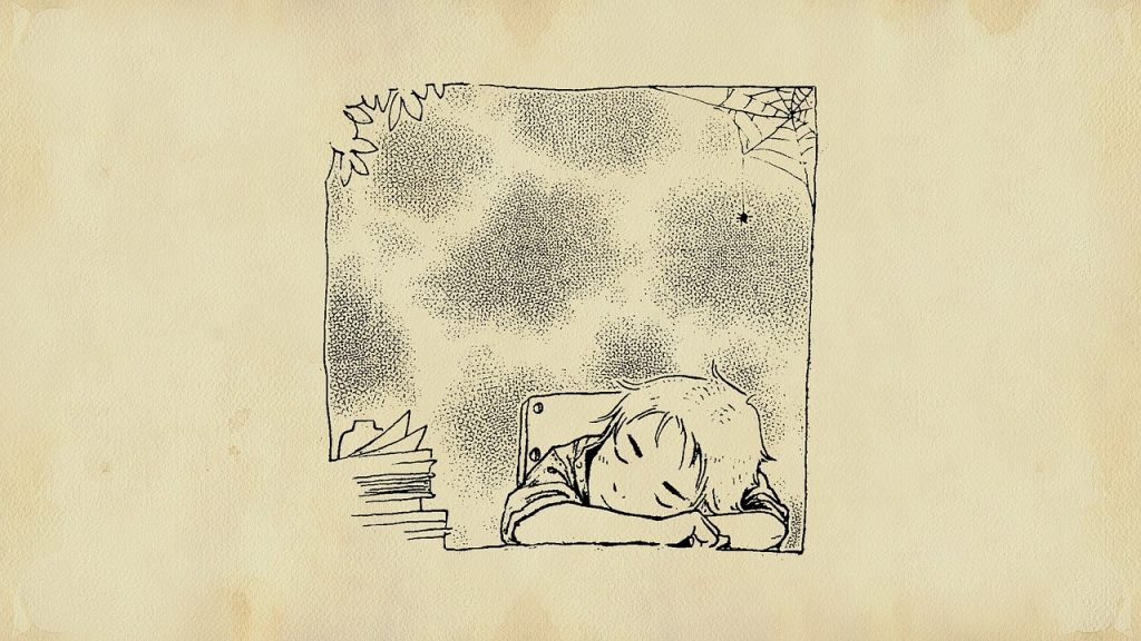 Cartoon - line drawing of a boy fast asleep at his work station