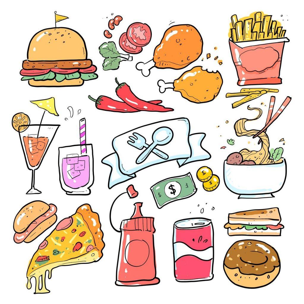 Cartoon - a gallery of various food types