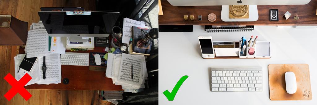 Comparison of a messy desk against a tidy desk