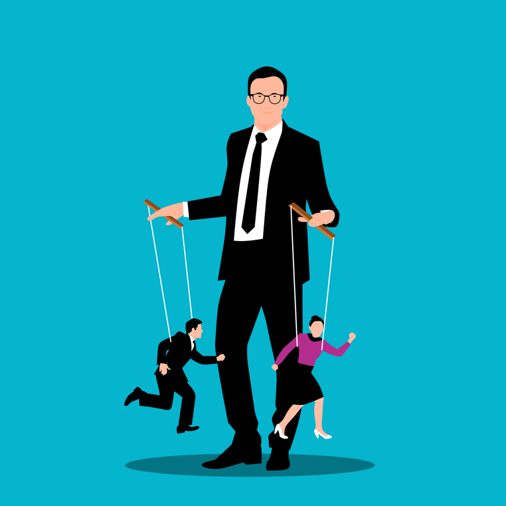 Cartoon - man in suit controlling two puppets, one male, one female