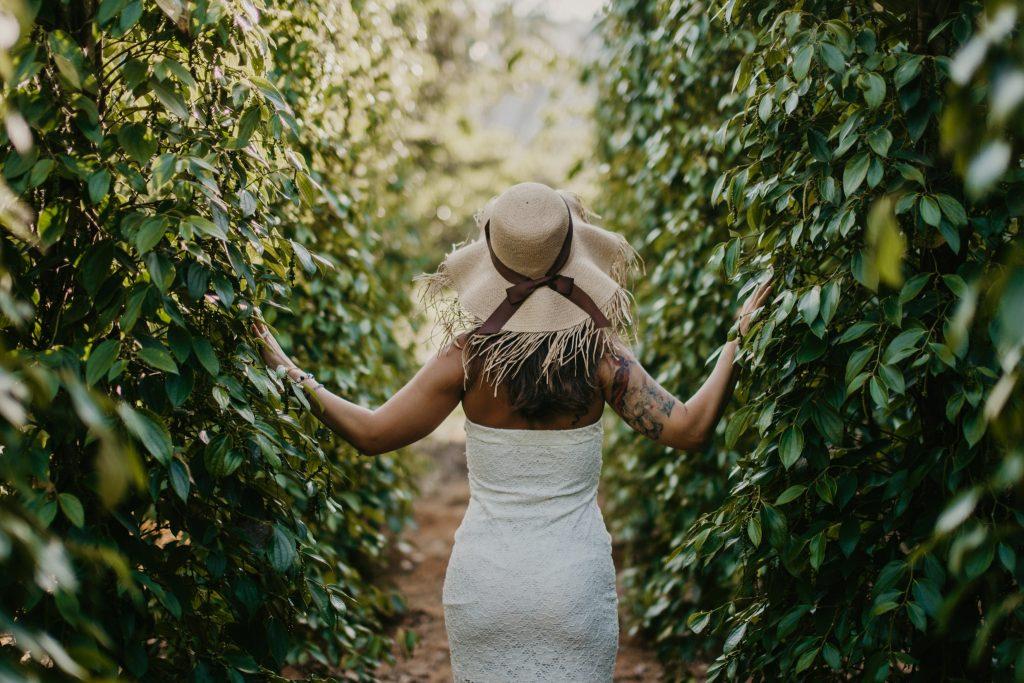 woman walking through nature