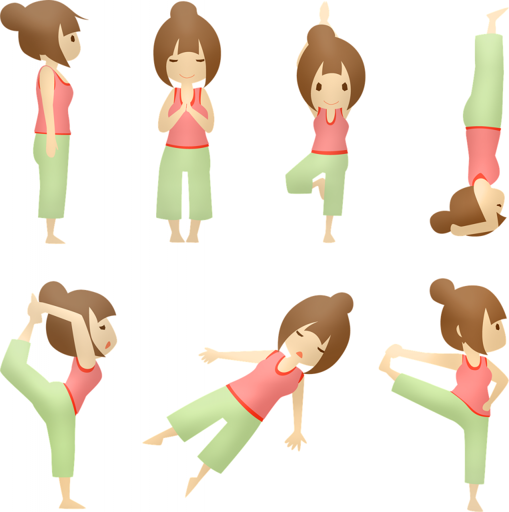 Cartoon - six images of a female in various yoga poses