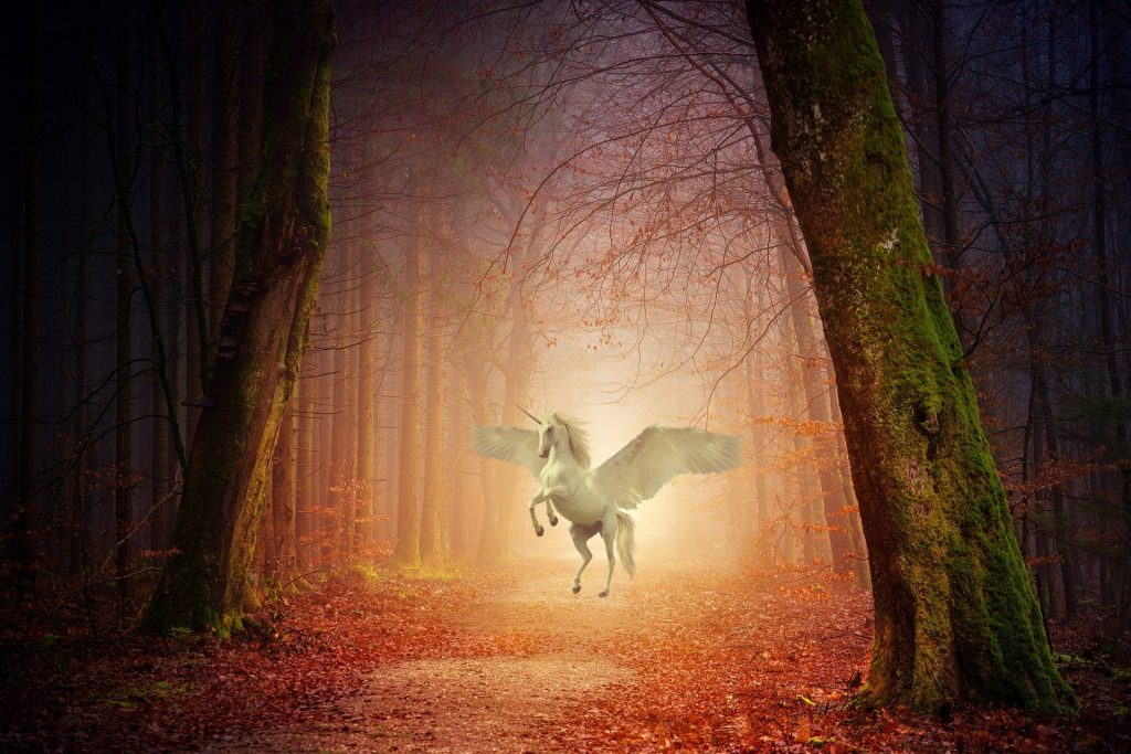 An Autumn forest with a white unicorn with wings
