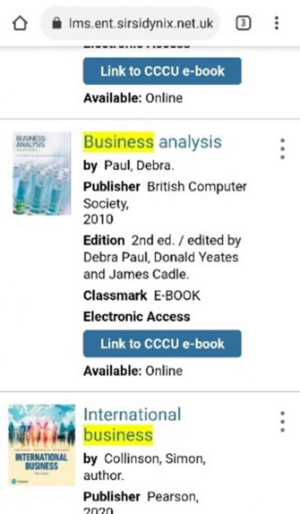 Link to CCCU e-book button in mobile view