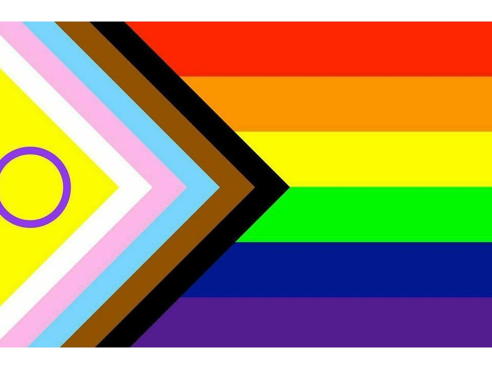 Current progress flag. Horizontal rainbow flag with triangle pointing right incorporating intersex flag, trans flag and others