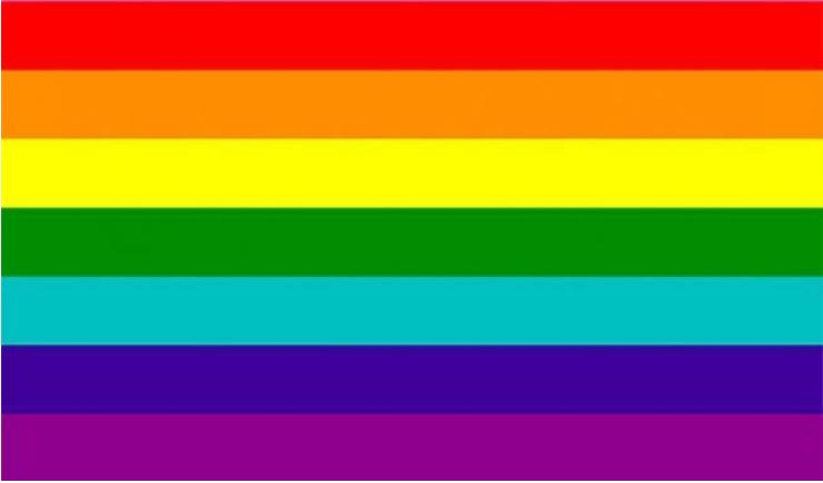 rainbow flag with seven stripes