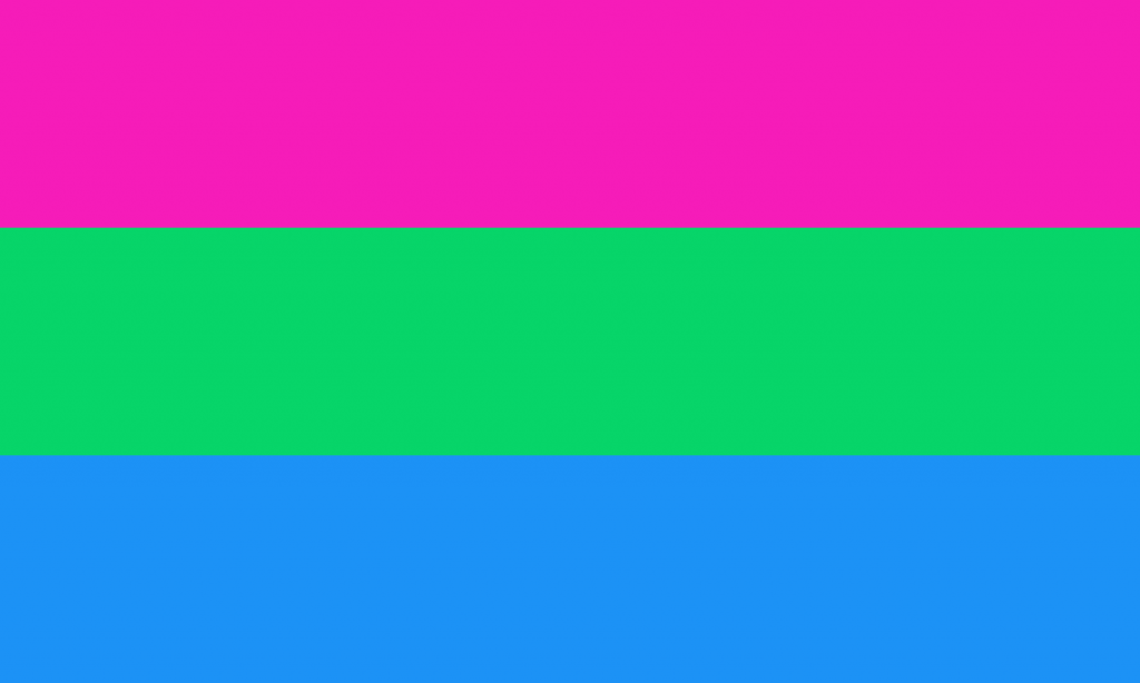 Polysexual flag. Horizontal lines pink, green and blue