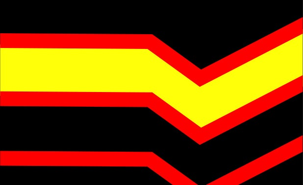 Rubber flag. black with yellow and red horizontal lines zig zag across