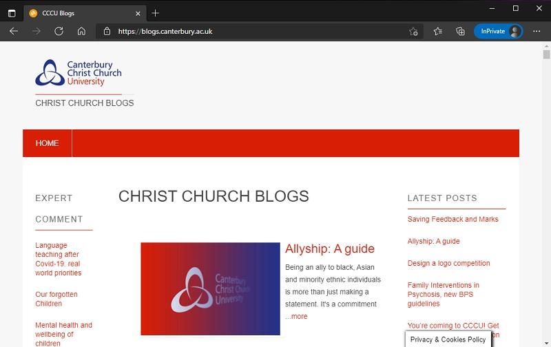 Screenshot of blogs.canterbury.ac.uk