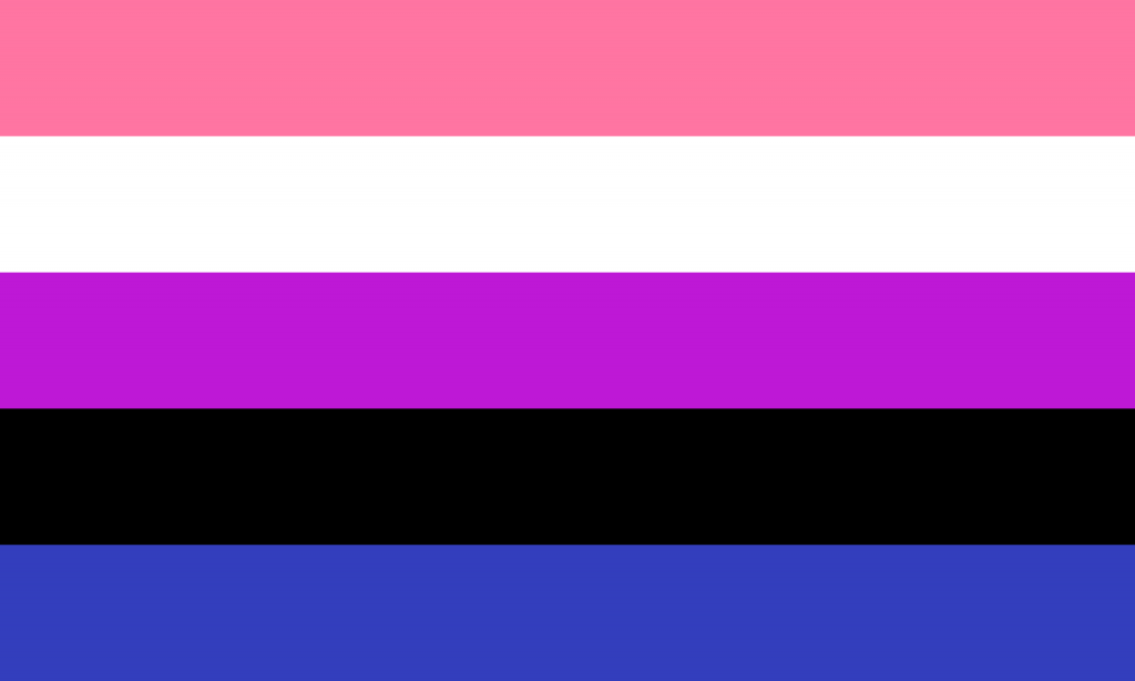 Gender Fluid flag. Horizontal lines pink, white, purple, black and blue