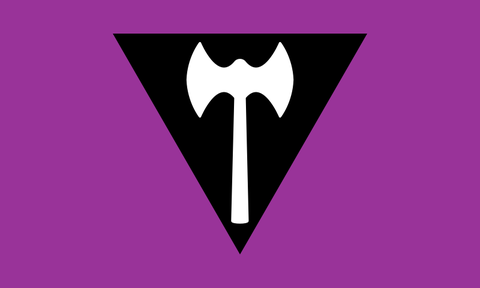 Labrys Lesbian flag. Purple with a black downpointing triangle in the centre. White double edged axe in centre of triangle
