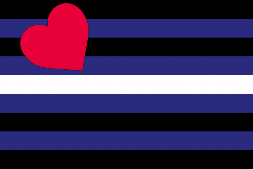 Leather flag. Horizontal lines blacks, blues and white. Red heart in top left corner