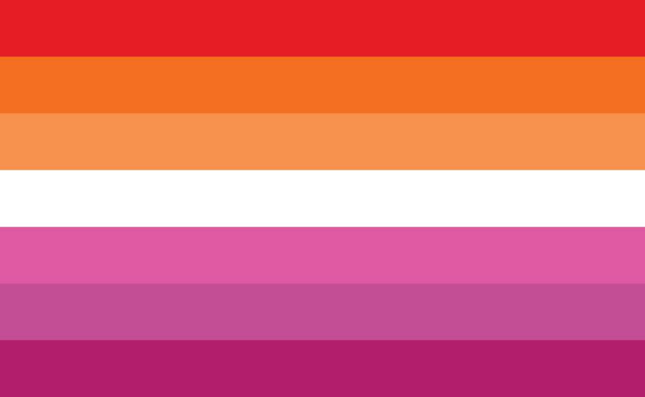 Lesbian flag. Horizontal lines oranges, white and pinks