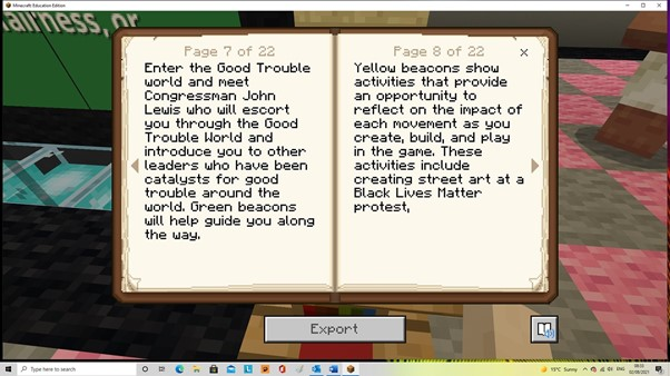 Screenshot from Lessons in Good Trouble on Minecraft Education Edition