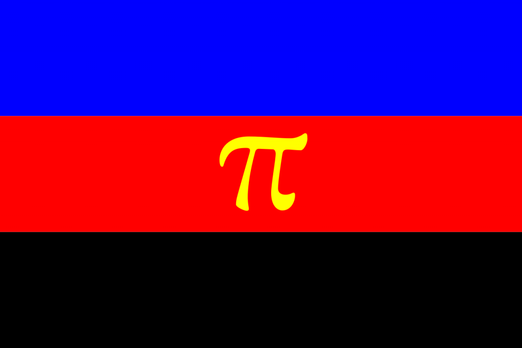 Polyamory flag. Horizontal lines blue, red and black. Yellow symbol in centre