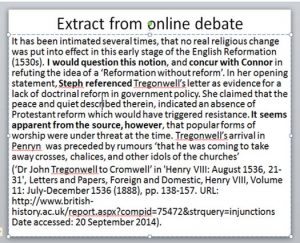 Image of an extract from online debate